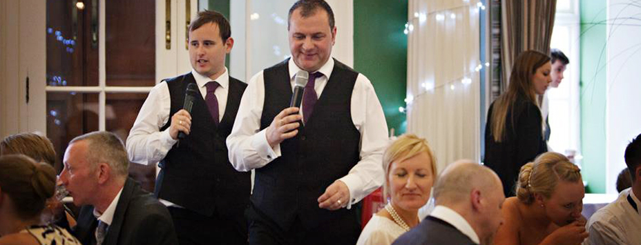Two singing waiters at Lancashire wedding